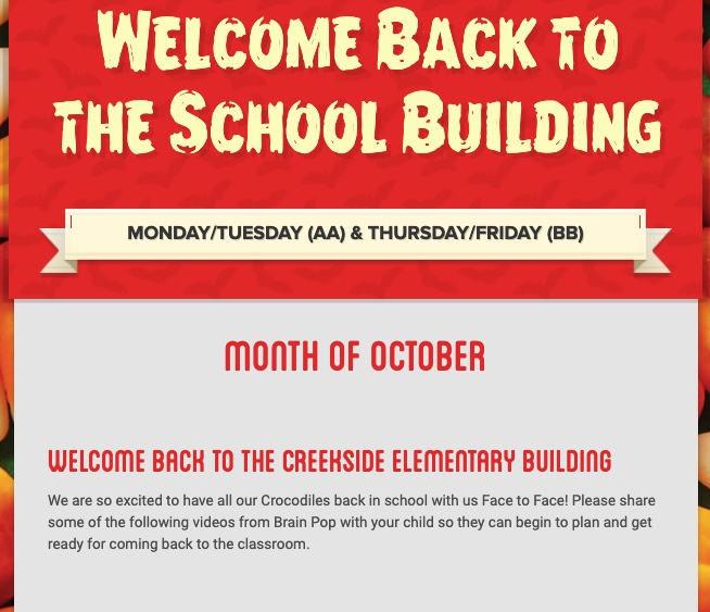 Creekside Newsletter Welcome Back to the Building
