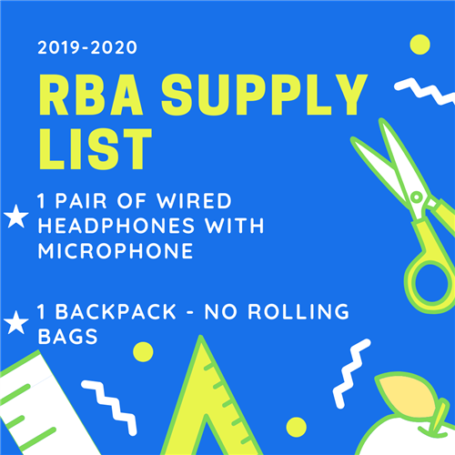 RBA 2019-2020 School Supply List