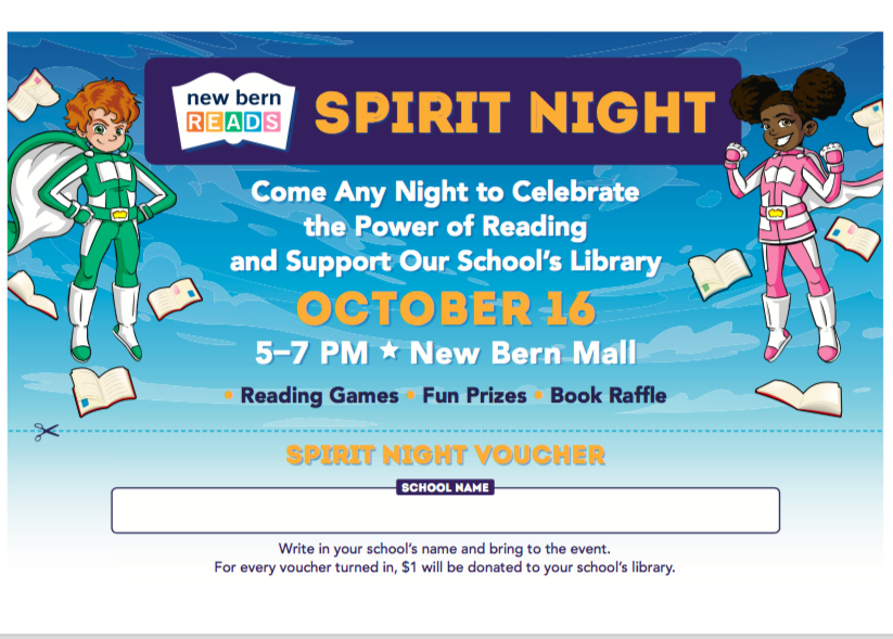 New Bern Reads-October 16 from 5:00-7:00 at New Bern Mall