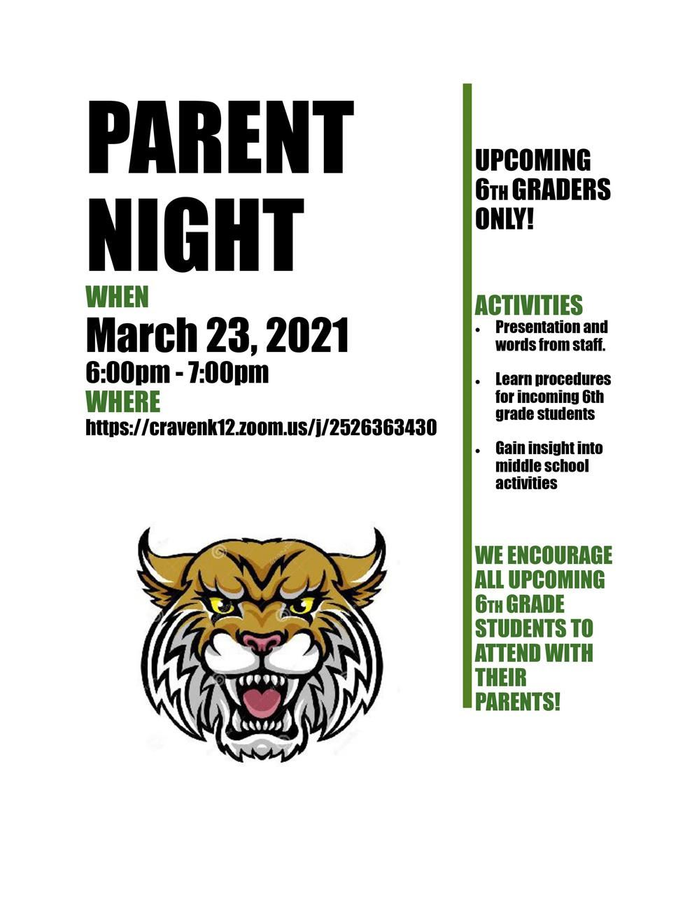 5th Grade Families - WCMS Parent Night Flyer
