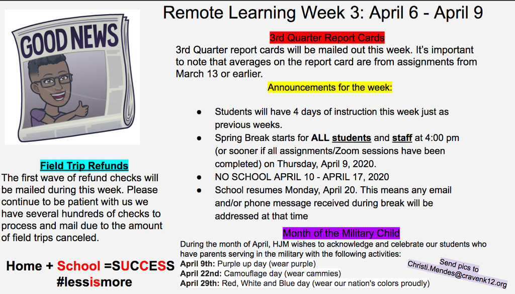 Remote Learning Week 3 - April 6-9
