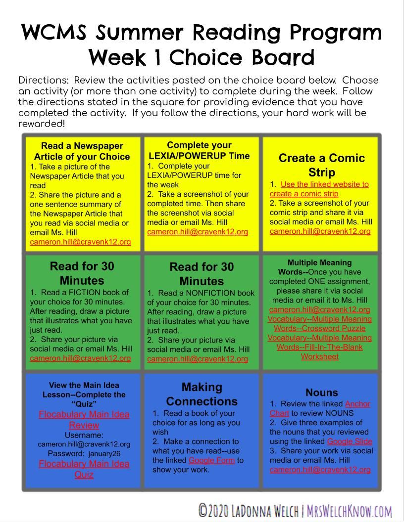 Summer Reading Week 1 Choice Board