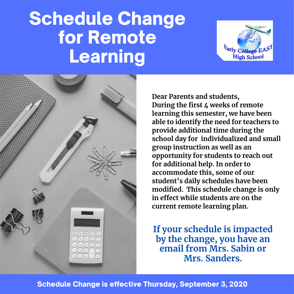 Schedule Update for Remote Learning