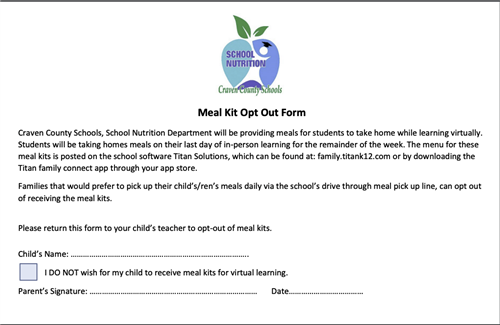Meal Kit Opt Out form