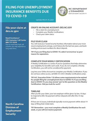 Fact sheet for filing unemployment benefts due to COVID-19